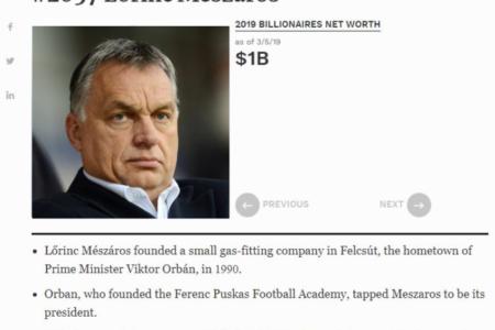 Mészáros Lőrincet strómanként jelenítette meg a Forbes