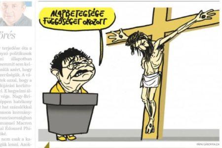 Pápai Gábor karikatúrája a kereszténységet kéri számon az álkeresztény fasisztákon