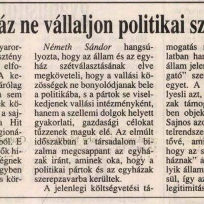 """Németh Sándor elutasítja a """"keresztény Magyarország"""" eszményét"""